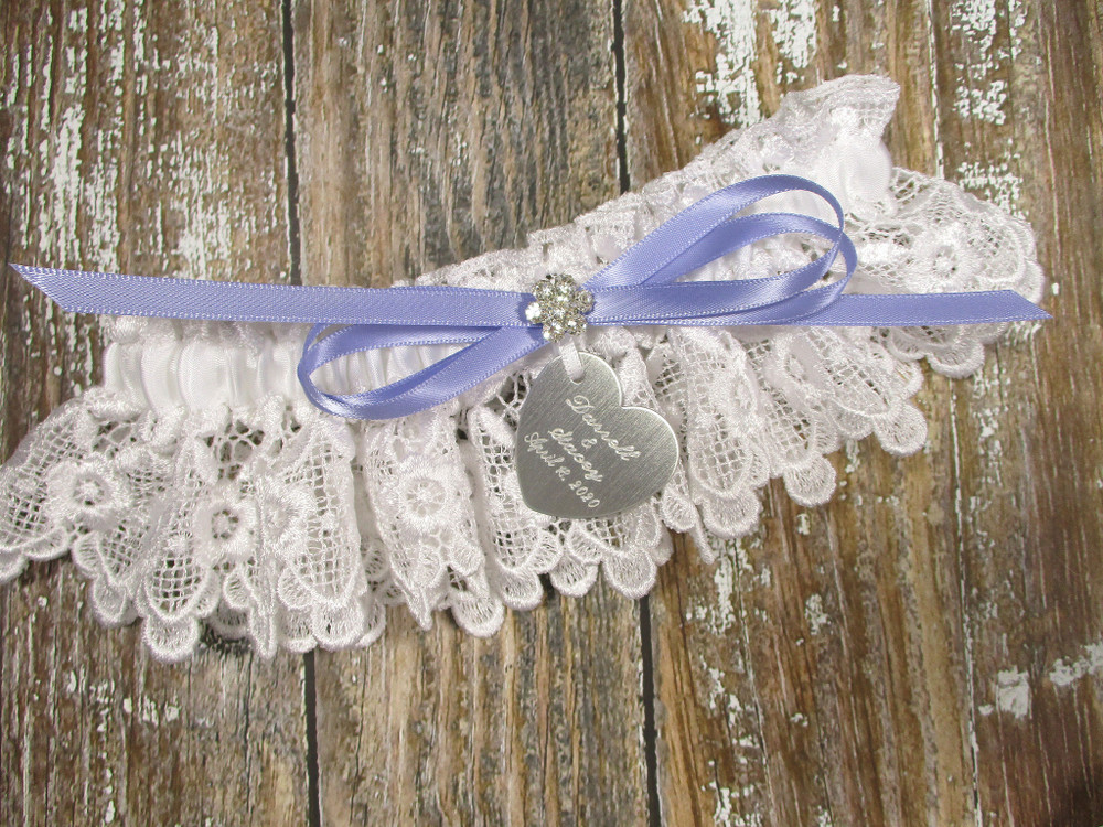 Personalized White Lace Wedding Garter, Shown with an Iris Bow