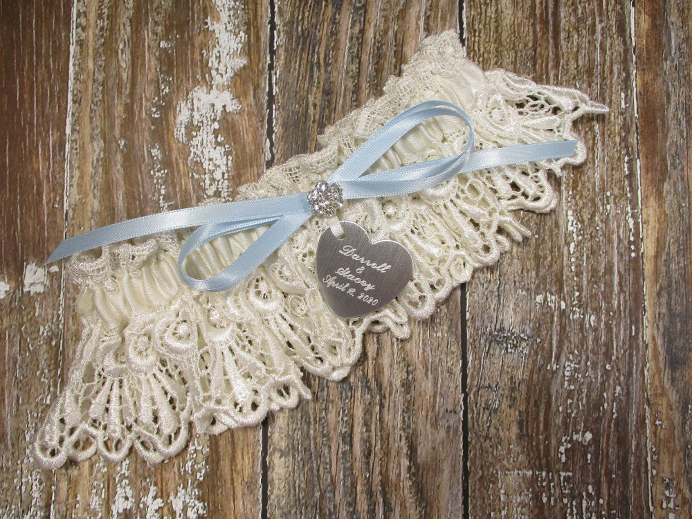 Personalized Ivory Lace Wedding Garter, Shown with a Light Blue Bow