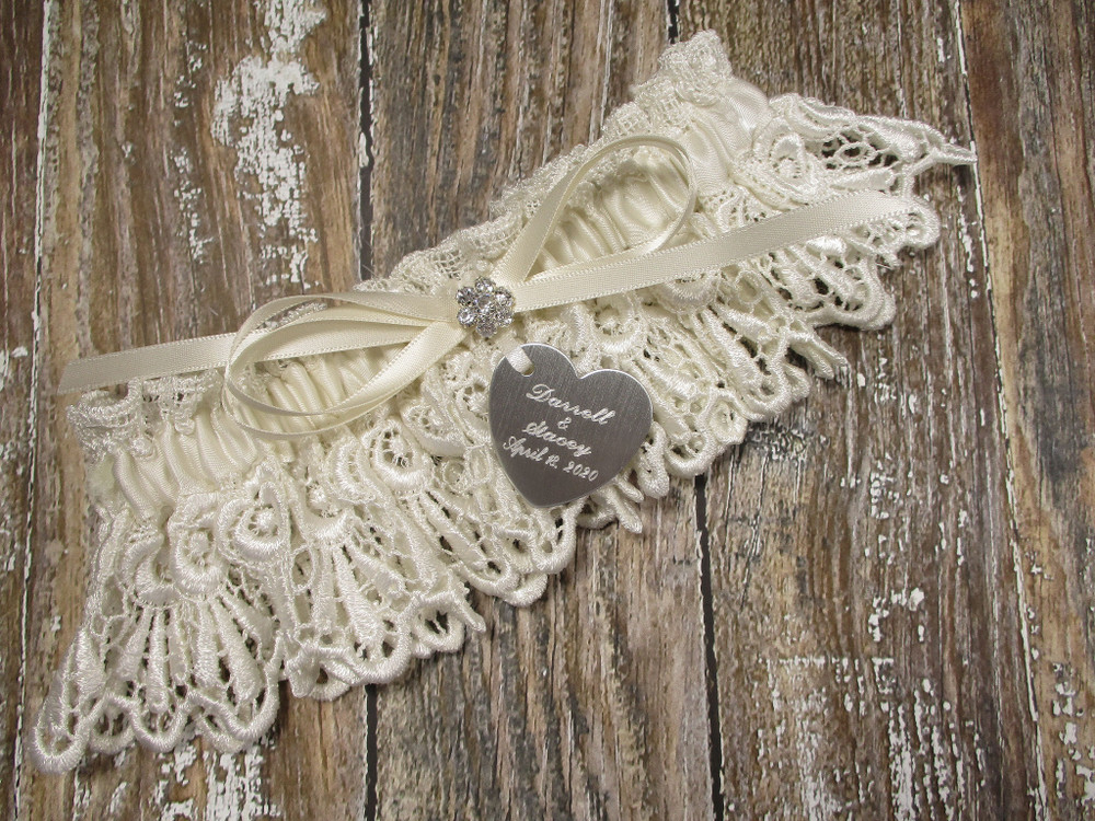 Personalized Ivory Lace Wedding Garter, Shown with an Ivory Bow