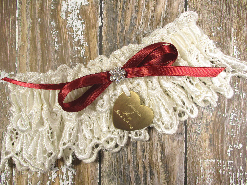 Personalized Ivory Lace Wedding Garter, Shown with a Scarlet Red Bow