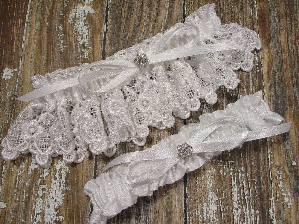 White Lace Wedding Garter Set, Shown with a White Bow