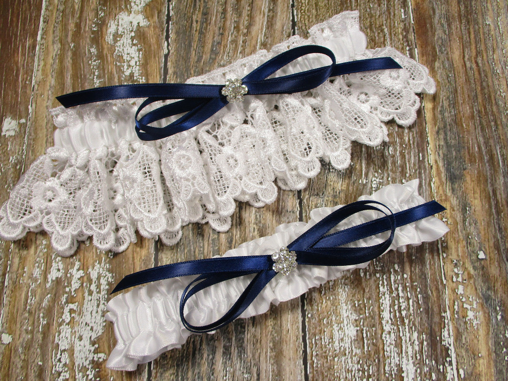 White Lace Wedding Garter Set, Shown with a Navy Blue Bow