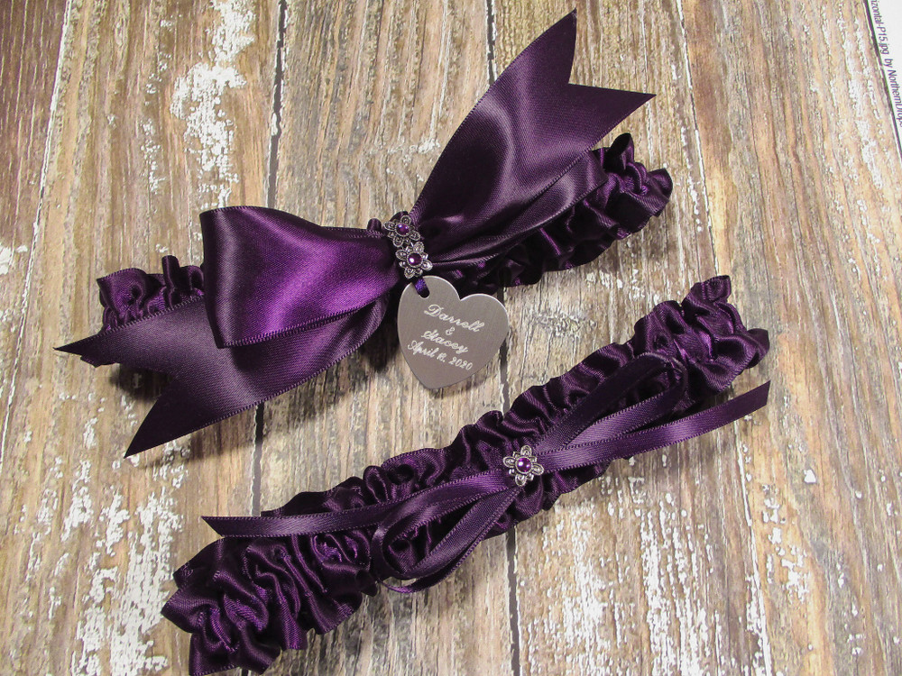 The Personalized Eggplant Purple Satin Wedding Garter Set with Amethyst Crystals