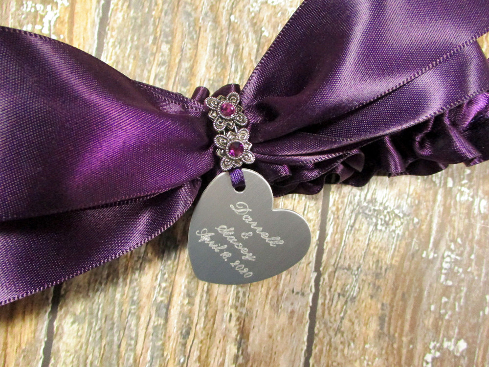Engraving Detail on the Personalized Wedding Garter