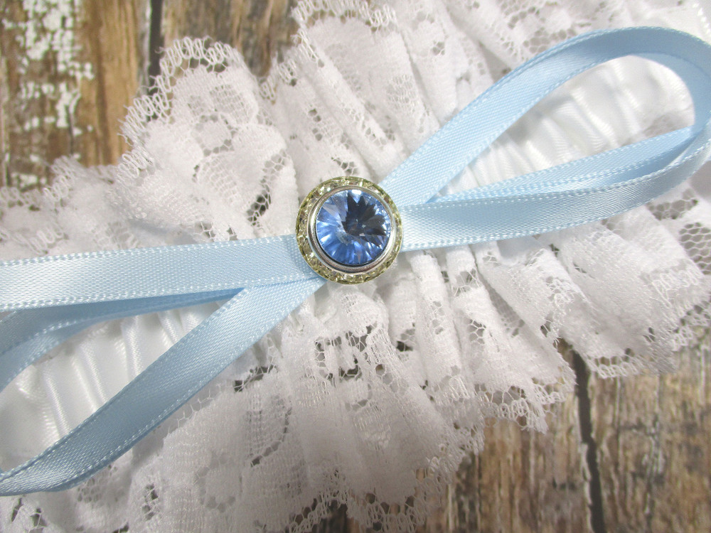 Details of the Blue Crystal on the White Lace Wedding Garter