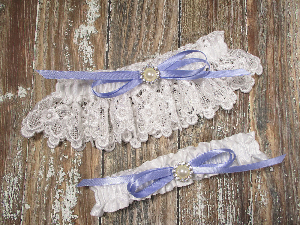 White Lace Wedding Garter Set with Pearls and Rhinestones, Shown with an Iris Bow