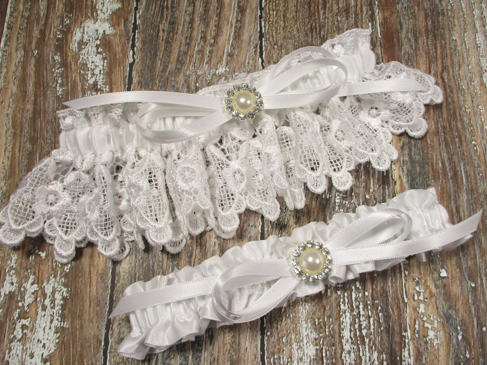 White Lace Wedding Garter Set with Pearls and Rhinestones, Shown with a White Bow