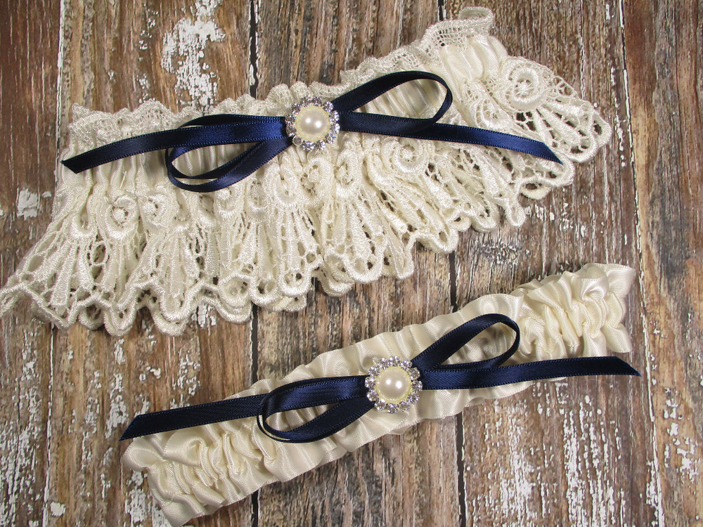 Ivory Lace Wedding Garter Set with Pearls and Rhinestones, Shown with a Navy Blue Bow