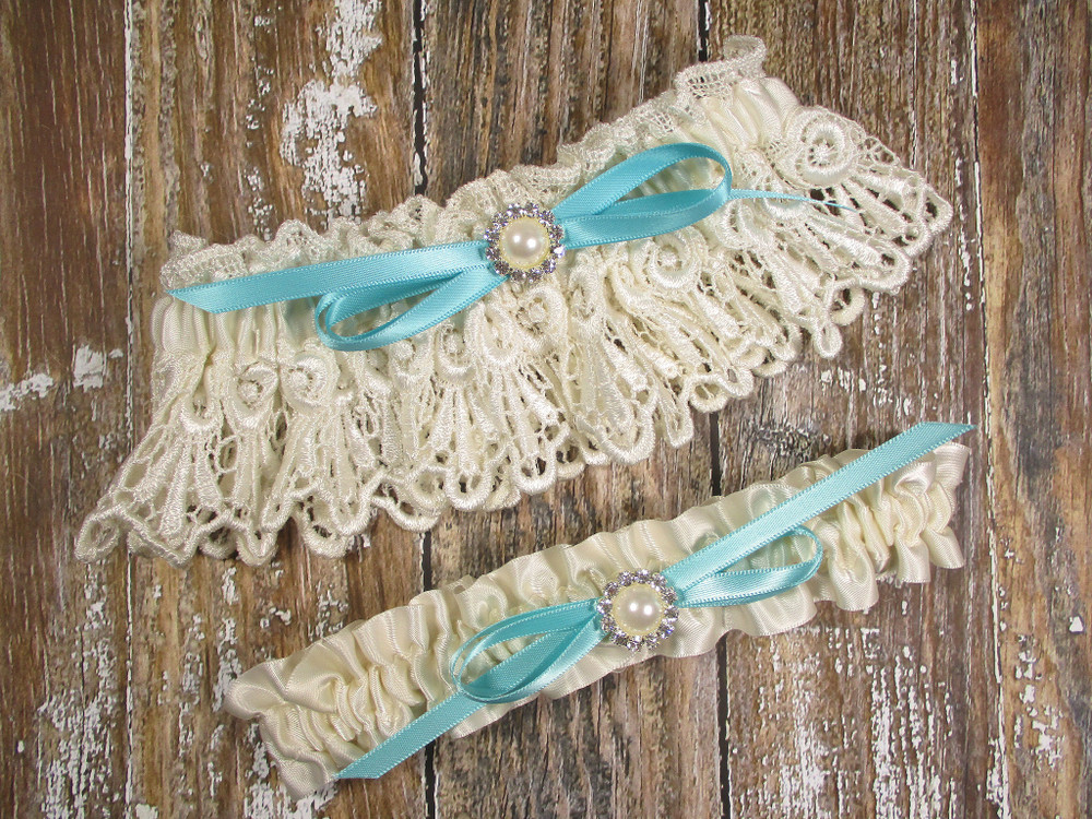 Ivory Lace Wedding Garter Set with Pearls and Rhinestones, Shown with a Robin's Egg Blue Bow