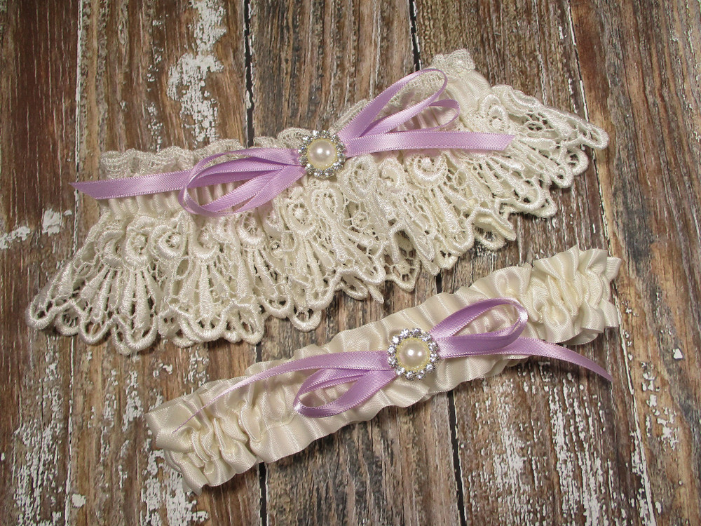 Ivory Lace Wedding Garter Set with Pearls and Rhinestones, Shown with a Lavender Bow