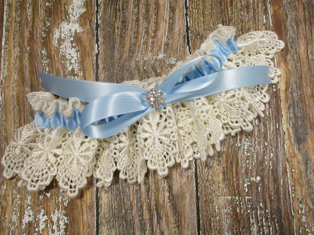 A Beautiful Ivory Lace and Blue Wedding Garter with Rhinestones