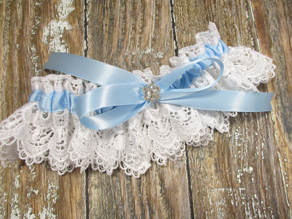A Beautiful White Lace and Blue Wedding Garter with Rhinestones