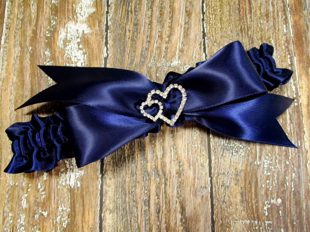 The Linked Rhinestone Hearts  Wedding Garter in Navy Blue