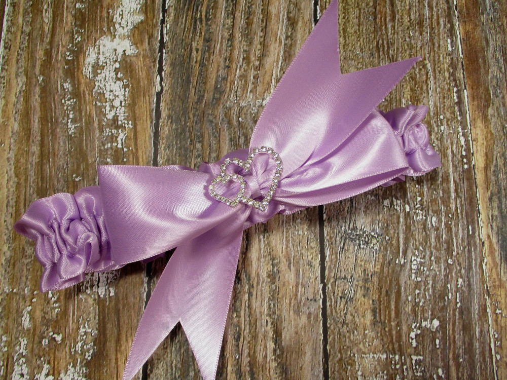 The Linked Rhinestone Hearts  Wedding Garter in Lavender