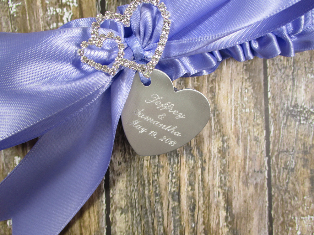 Details of the Personalized Linked Hearts Wedding Garter with Rhinestones