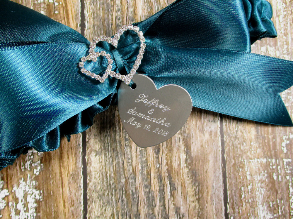 Engraving Details of the Personalized Linked Rhinestone Hearts Wedding Garter