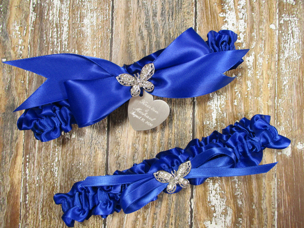 The Personalized Rhinestone Butterfly Wedding Garter Set in Royal Blue