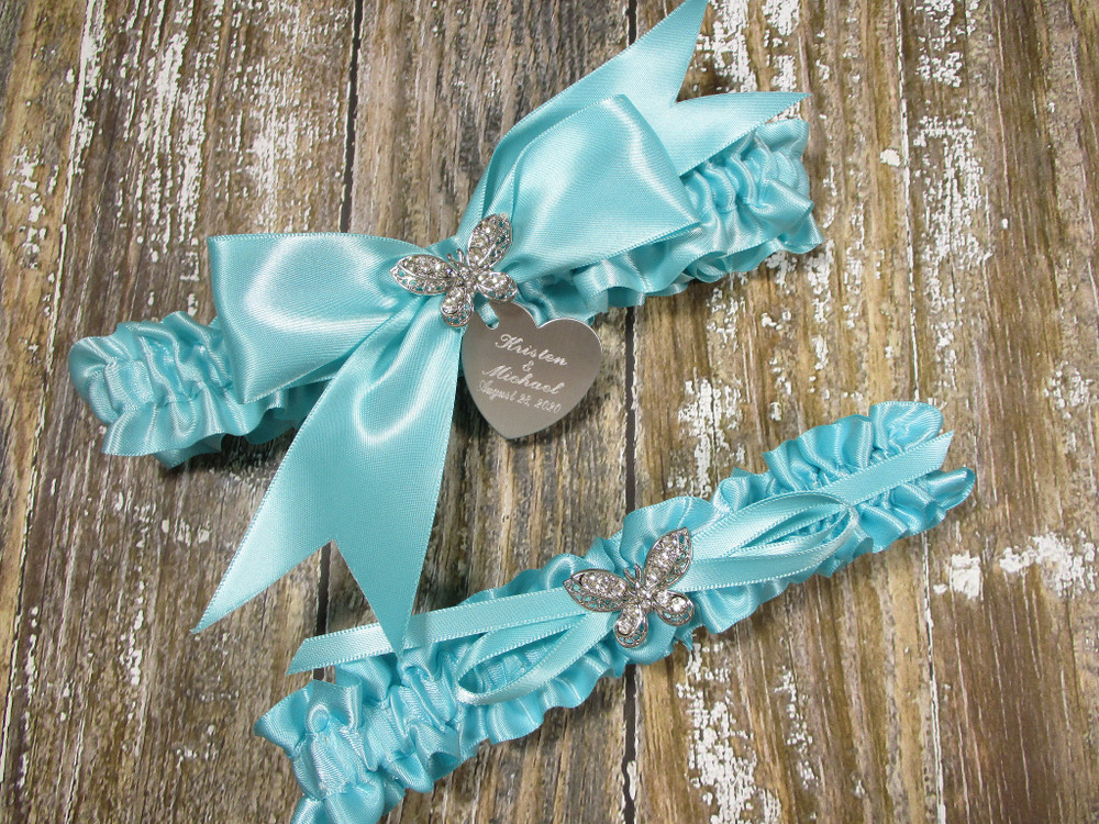 The Personalized Rhinestone Butterfly Wedding Garter Set in Robin's Egg Blue