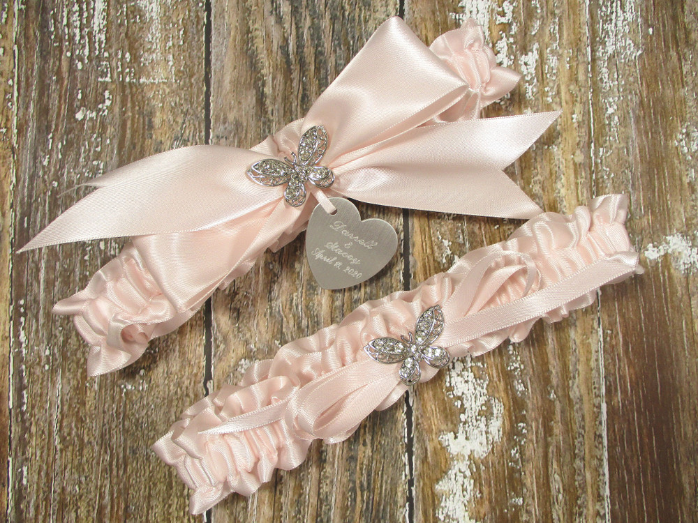 The Personalized Rhinestone Butterfly Wedding Garter Set in Pink Blush