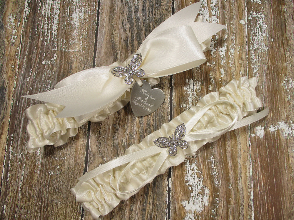 The Personalized Rhinestone Butterfly Wedding Garter Set in Ivory