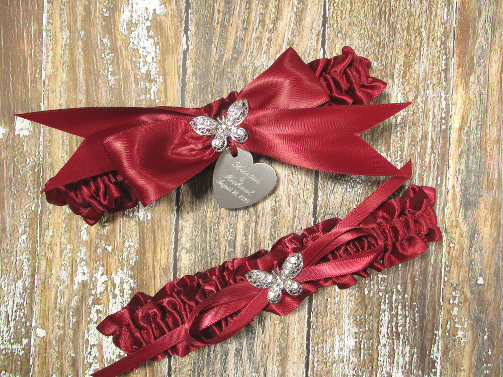 The Personalized Rhinestone Butterfly Wedding Garter Set in Scarlet Red