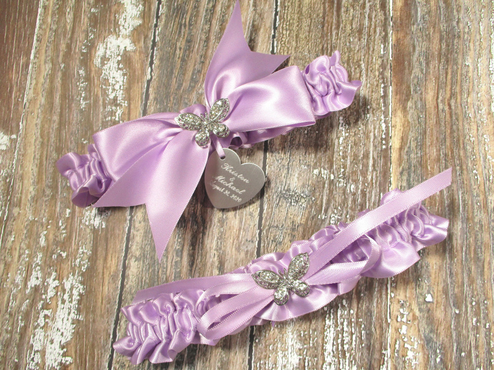 The Personalized Rhinestone Butterfly Wedding Garter Set in Lavender