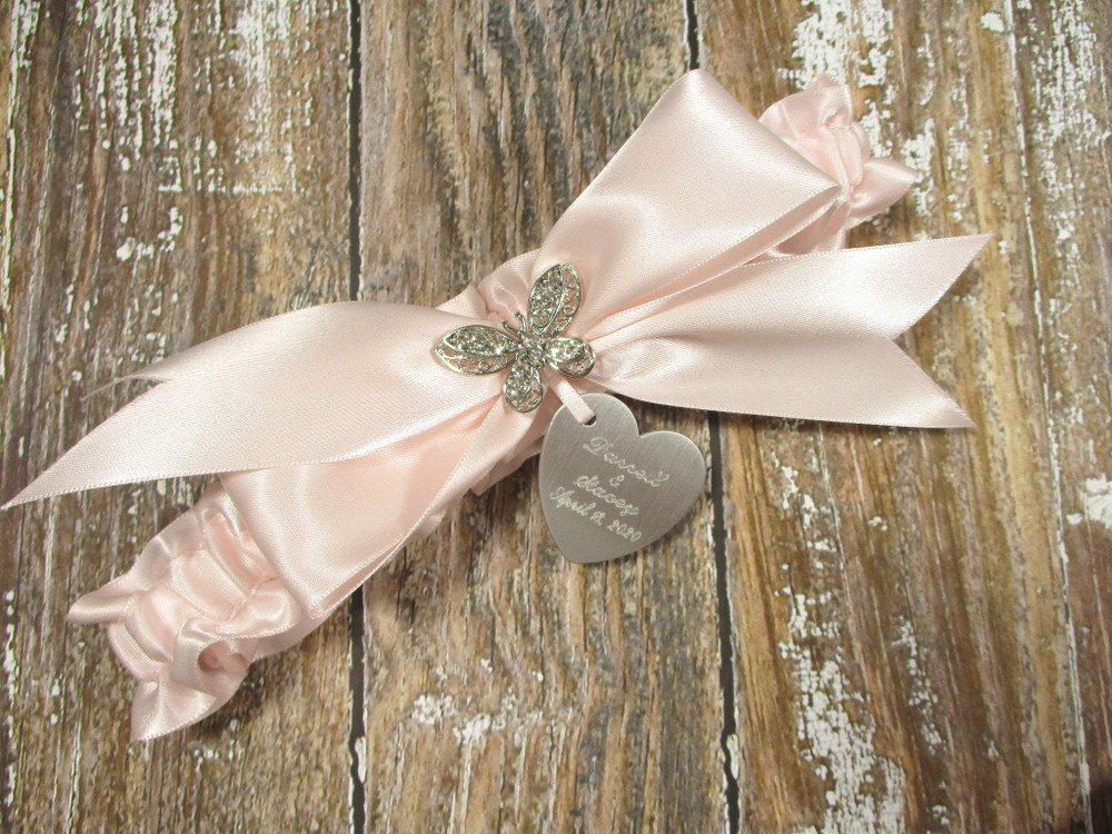 The Personalized Rhinestone Butterfly Wedding Garter in Pink Blush