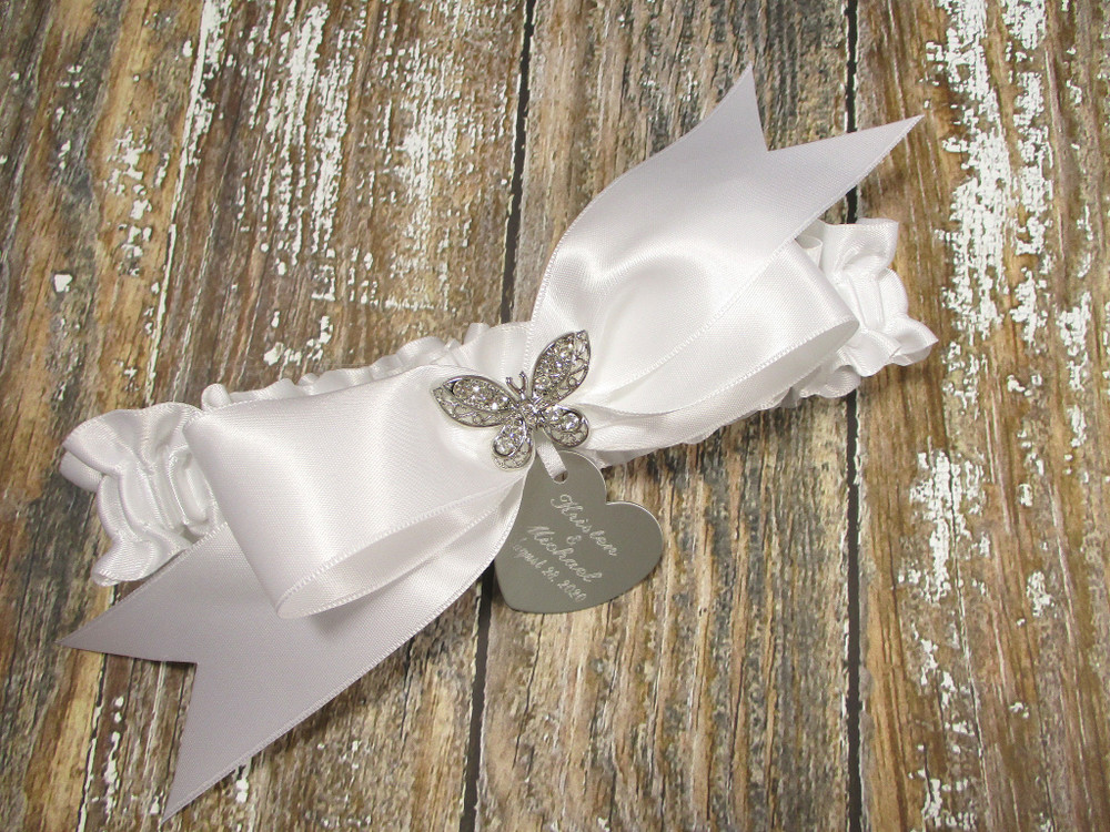 The Personalized Rhinestone Butterfly Wedding Garter in White