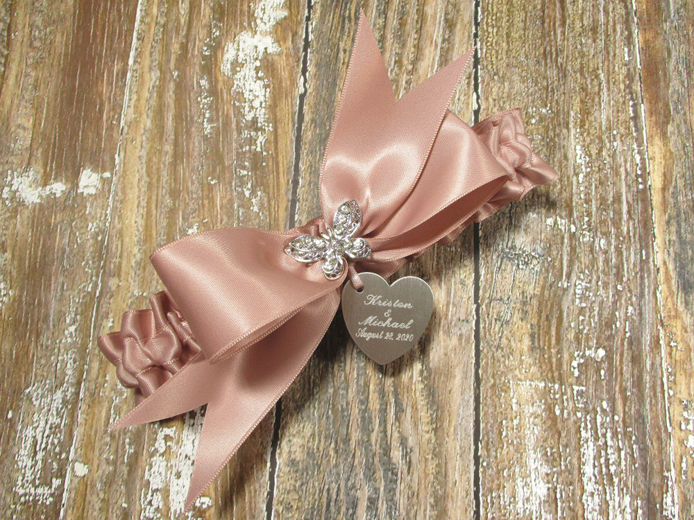 The Personalized Rhinestone Butterfly Wedding Garter in Rose Gold