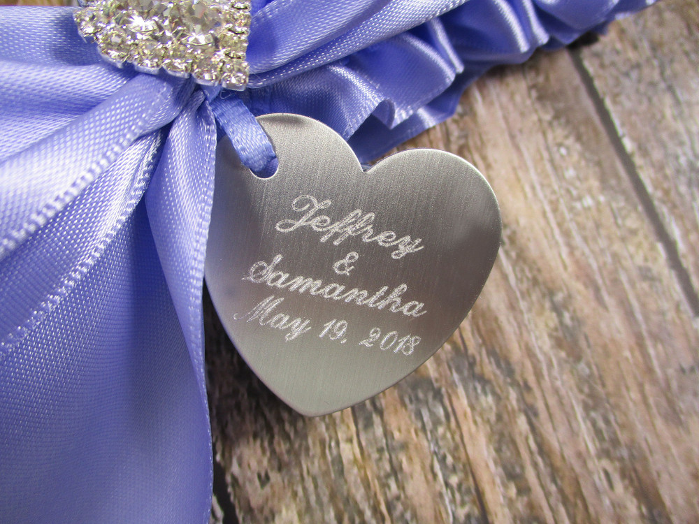 Engraving Details of the Personalized Rhinestone Heart Wedding Garter