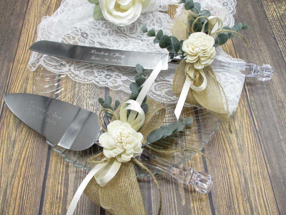 Engraved Rustic Wedding or Anniversary Cake Knife and Server Set