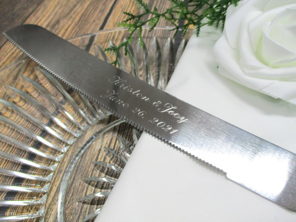 Engraving on the Personalized Rustic Wedding Cake Knife