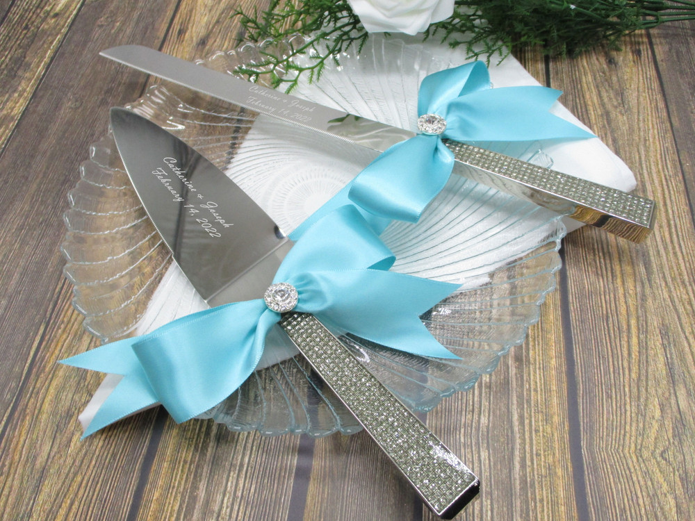 Glitter Galore Cake Serving Set Shown with Robin's Egg Blue Bows
