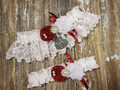 Personalized White Lace Wedding Garter Set Shown with  Scarlet Red Roses