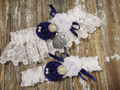 Personalized White Lace Wedding Garter Set Shown with Eggplant Roses