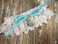 Personalized White Lace Wedding Garter, Shown with a Robin's Egg Blue Bow