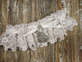 Personalized White Lace Wedding Garter, Shown with a White Bow