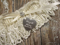 Engraving Detail on the Personalized Ivory Wedding Garter