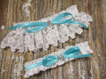 White Lace Wedding Garter Set, Shown with a Robin's Egg Blue Bow