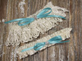 Ivory Lace Wedding Garter Set, Shown with a Robin's Egg Blue Bow