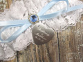 Engraving on the Personalized White Lace Wedding Garter with a Blue Crystal