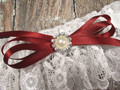 Details of the White Lace Wedding Garter with Pearls and Rhinestones