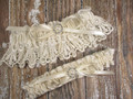 Ivory Lace Wedding Garter Set with Pearls and Rhinestones, Shown with an Ivory Bow