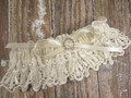 Ivory Lace Wedding Garter with Pearls and Rhinestones
