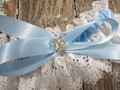 Details of the White Lace and Blue Wedding Garter