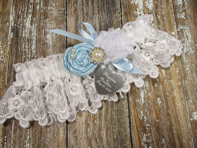 Personalized White Lace Wedding Garter, Shown with a Light Blue Rose and Bow