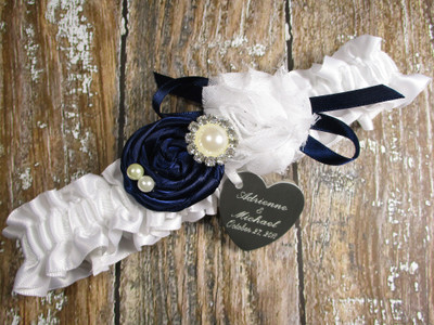 Custom Rose Wedding Garter in White Satin, Shown with a Navy Blue Rose