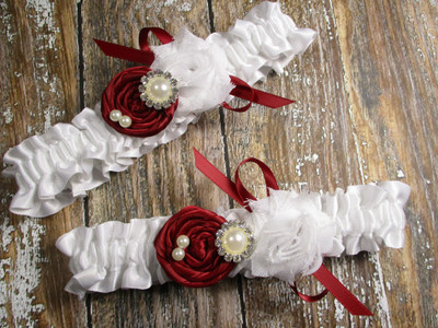 White Satin Wedding Garter Set Shown with Scarlet Red Roses