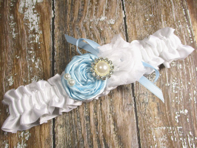 Custom Rose Wedding Garter in White Satin, Shown with a Light Blue Rose