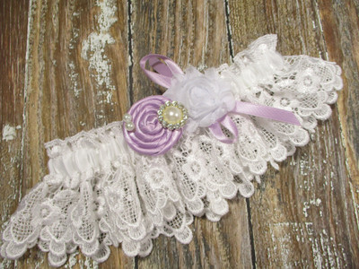 White Lace Wedding Garter, Shown with a Lavender Rose and Bow